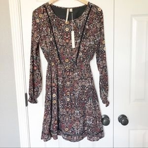 NWT LC Lauren Conrad Floral Long Sleeve Mini Dress